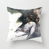 runner Throw Pillows featuring Night Runner by Rubis Firenos