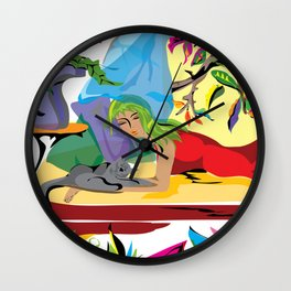 """Garden of Dreams"" Paulette Lust's contemporary, original, colorful, whimsical, art. Wall Clock"