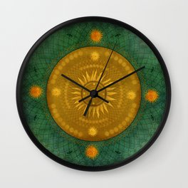 """""""Celestial & Ocher Vault Mandala"""" Wall Clock"""