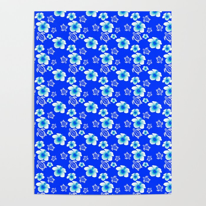 Blue Floral And Turtles Hawaiian Pattern Poster