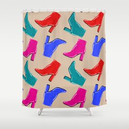 Shiny High Heel Boots Shower Curtain