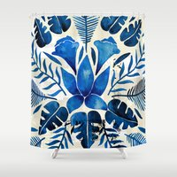 navy Shower Curtains featuring Tropical Symmetry – Navy by Cat Coquillette