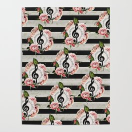 Musical Treble Clef with Watercolor Roses Pattern Poster