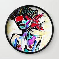 bondage Wall Clocks featuring Bondage Watercolor by Red Dust
