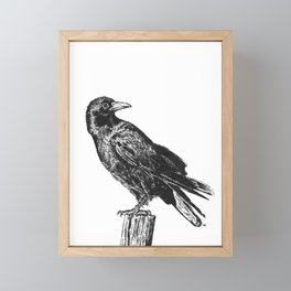 Perched Crow Framed Mini Art Print