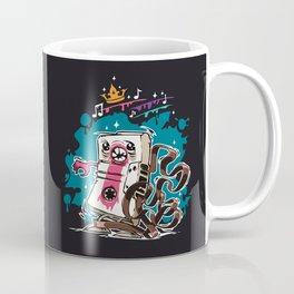 Cartoon Audio Cassette Tape on Dark Background Coffee Mug
