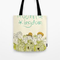 moonrise kingdom Tote Bags featuring Moonrise Kingdom by Elly Liyana