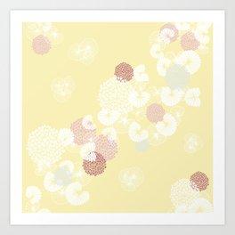 Floral Seamless Pattern on Yellow Art Print