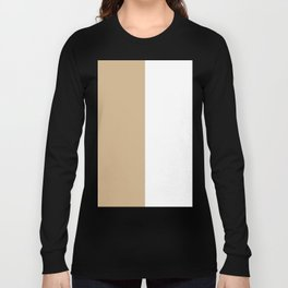 White and Tan Brown Vertical Halves Long Sleeve T-shirt
