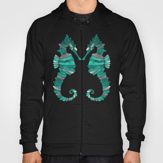 Seahorse – Silver & Turquoise Hoody