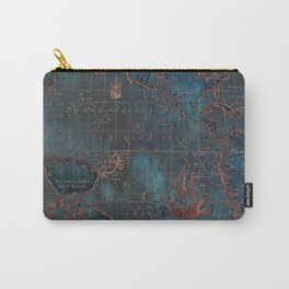 Antique Map Teal Blue and Copper Carry-All Pouch