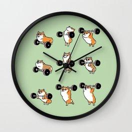 Olympic Lifting Corgi Wall Clock