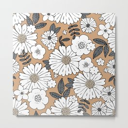 Romantic boho garden english blossom daisies and buttercup flowers and leaves caramel burnt orange gray white fall Metal Print
