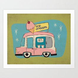 Ice Cream Truck on Avocado Green - Kitschy Kitchen Decor Art Print