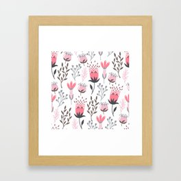 Pink and Gray Tulips Framed Art Print