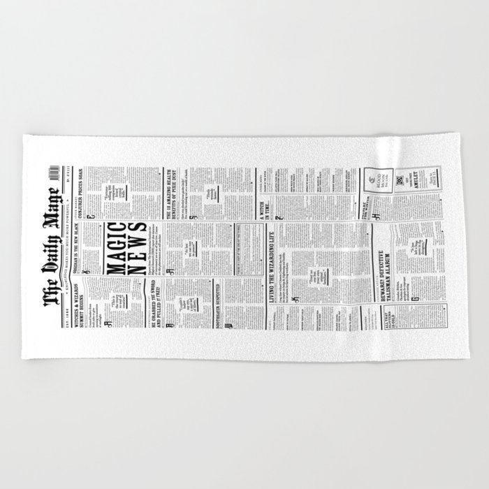 The Daily Mage Fantasy Newspaper Beach Towel