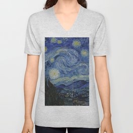 Starry Night by Dutch Post-Impressionist Painter Vincent Van Gogh Unisex V-Neck