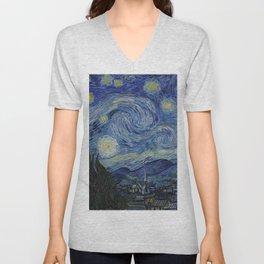 Starry Night by Dutch Post-Impressionist Painter Vincent Van Gogh Unisex V-Neck