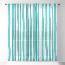 Turquoise and White Cabana Stripes Palm Beach Preppy Sheer Curtain