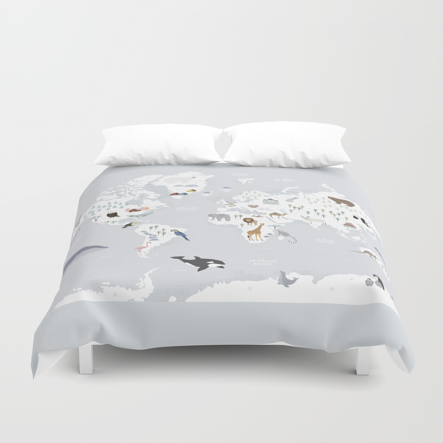Animal Map of the world Duvet Cover