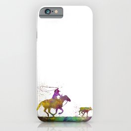 American cowboy with lasso in watercolor 08 iPhone Case