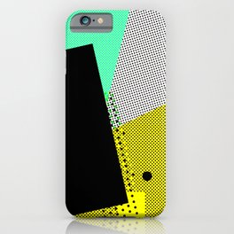 Pop time geometric abstract black dots iPhone Case