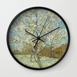 The pink peach tree by Vincent Van Gogh Wall Clock