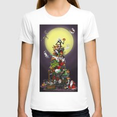 Happy 20th Anniversary The Nightmare Before Christmas Art Print (Night Time) X-LARGE Womens Fitted Tee White
