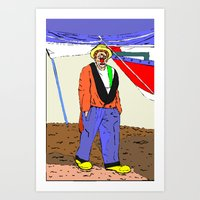 clown Art Prints featuring clown by Karl-Heinz Lüpke