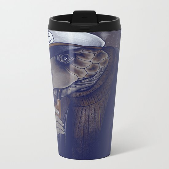 Turtlenecked Sea Captain Metal Travel Mug