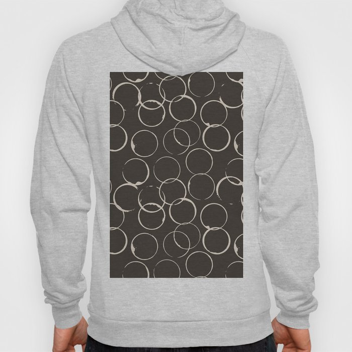 Circles Geometric Pattern Chocolate Brown Antique White Hoody
