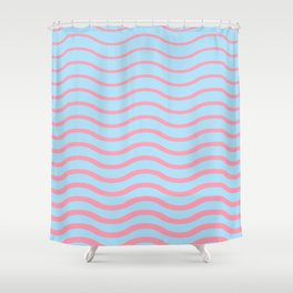 Waves Pattern, Geometric, Abstract, pink and light blue, Shower Curtain