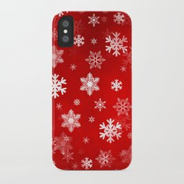 Light Red Snowflakes iPhone Case