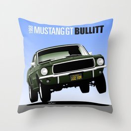 Ford Mustang Fastback GT 1968 from Bullitt Throw Pillow