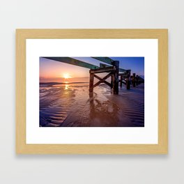 Biloxi Beach Low Tide Sunrise Framed Art Print