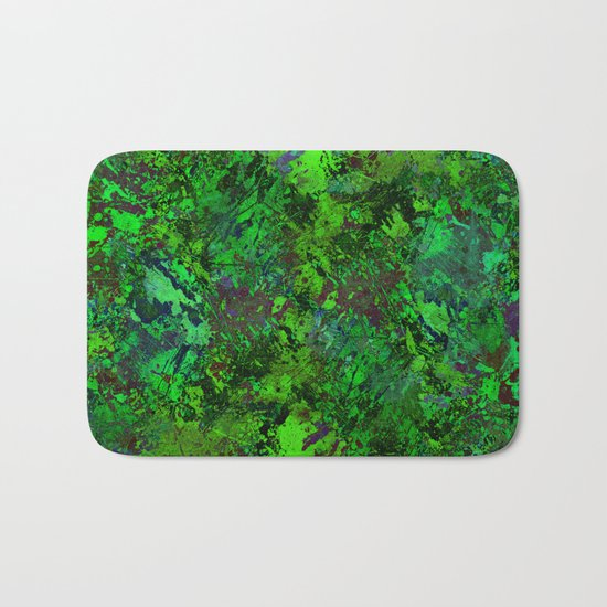 Lost In The Jungle - Abstract, green, jungle, foliage, leaves, forest themed artwork Bath Mat