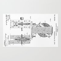 tesla Area & Throw Rugs featuring Nikola Tesla Electro Magnetic Motor Patent Art by Elegant Chaos Gallery