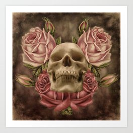 Skull And Rose's 2 Art Print