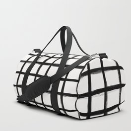 Strokes Grid - Black on Off White Duffle Bag
