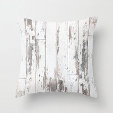 White Wood Throw Pillow