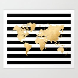 Gold world map black and white stripes Art Print
