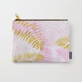 Aloha- Pink Tropical Palm Leaves and Gold Metal Foil Leaf Garden Carry-All Pouch