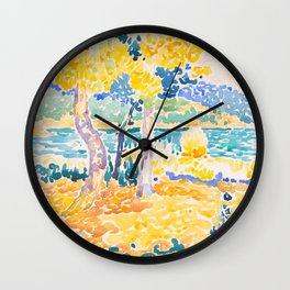 Pines on the Coastline Henri-Edmond Cross Neo-Impressionism Pointillism Watercolor Painting Wall Clock