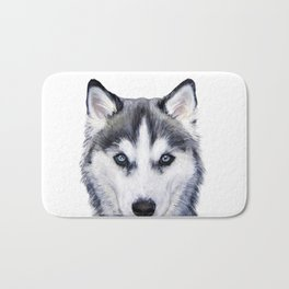 Siberian Husky original painting by Miart Bath Mat