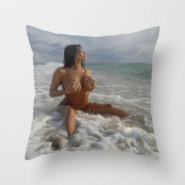 0093-SS Beautiful Naked Woman Nude Beach Sand Surf Big Breasts Long Black Hair Sexy Erotic Art Throw Pillow