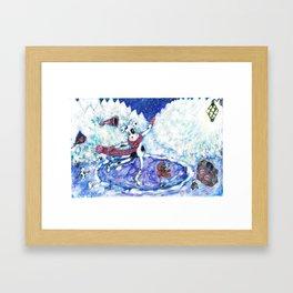 Ice Skating Cow Framed Art Print