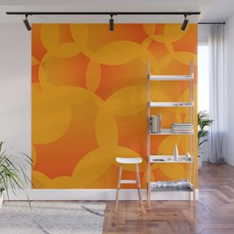 Abstract soap of orange molecules and bubbles on a fruity background. Wall Mural