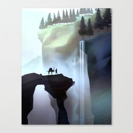 Fantasy landscape and waterfall Canvas Print