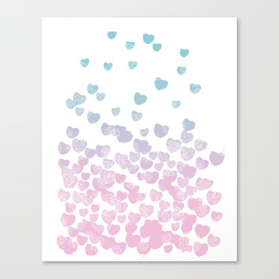 Hearts falling ombre blue and pastel pink cotton candy wonderland Canvas Print