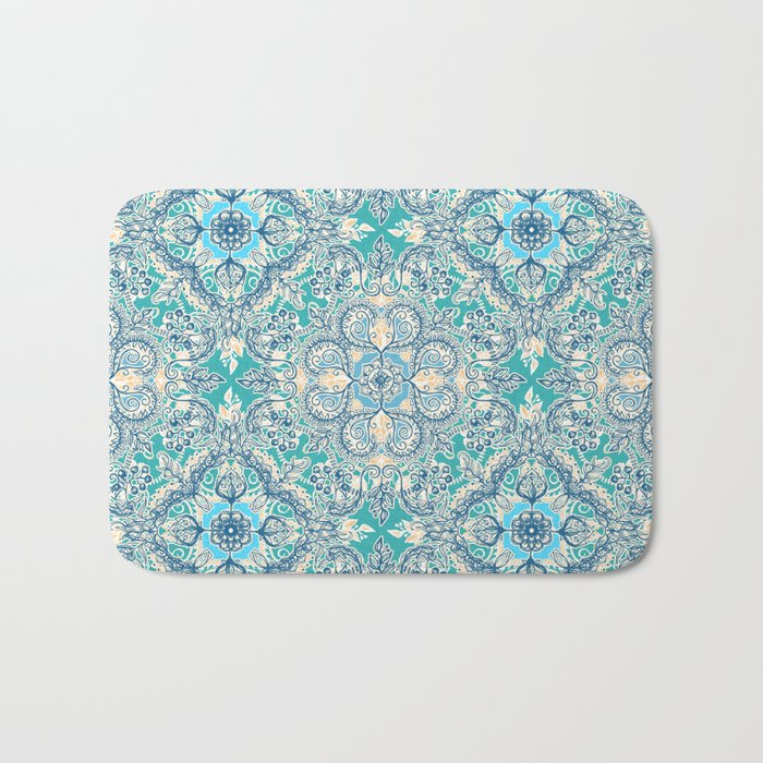 Gypsy Floral in Teal & Blue Bath Mat